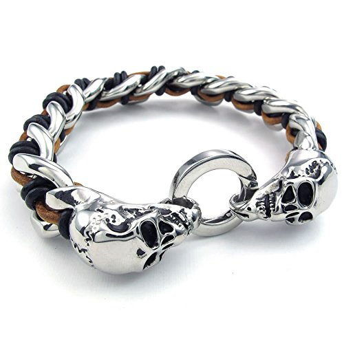 Konov - Bracciale da uomo, stile gotico da motociclista, motivo: ad anelli con teschi, in acciaio inossidabile e cuoio, in confezione regalo, colore: nero e argento