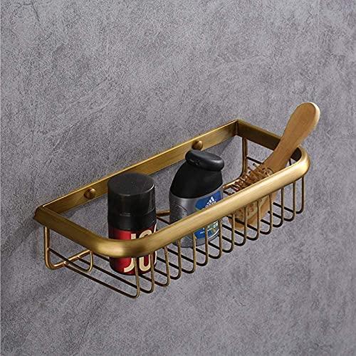 DGDF Estante de almacenamiento de cosméticos rectangulares antiguos europeos para el hogar, el hotel, el cuarto de baño cepillado (color oro)