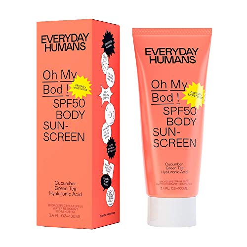Everyday Humans Oh My Bod! SPF50 Body Sunscreen | Dry Touch Body Sunscreen with Hyaluronic Acid | Lightweight, No White Cast, Water Resistant for Sports, Non Toxic, Reef Friendly, Cruelty Free | 3.4 oz