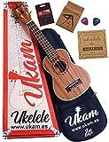 Ukelele Soprano 21' Caoba UKAM mod.AM-BT100, con afinador tipo pinza, cejilla especial ukelele, funda acolchada con correa, juego de cuerdas extra y púas. Pack de iniciación de alta calidad.