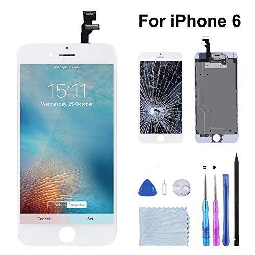 Beefix Display Kompatibel Für iPhone 6 Weiß LCD Bildschirm Ersatz Für Touchscreen Glas Reparaturset Ersatz Einschließlich Kostenlose Werkzeug