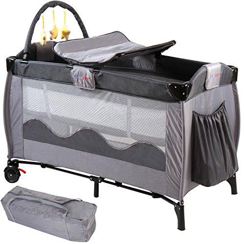 Infantastic Kinderreisebett Babyreisebett mit Babyeinlage, inkl. Matratze + Zubehör, grau