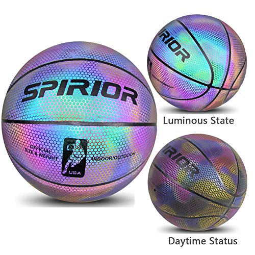 Purchase ANBAI Holographic Luminous Reflective Basketball,Luminous Basketball illuminates Camera Fla...