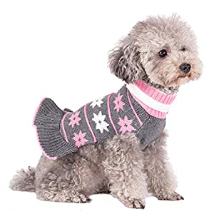 kyeese Fashion Dog Sweater Dress Turtleneck Dogs Pullover Knit with Leash Hole Fall Winter Warm Dog Sweater Cute