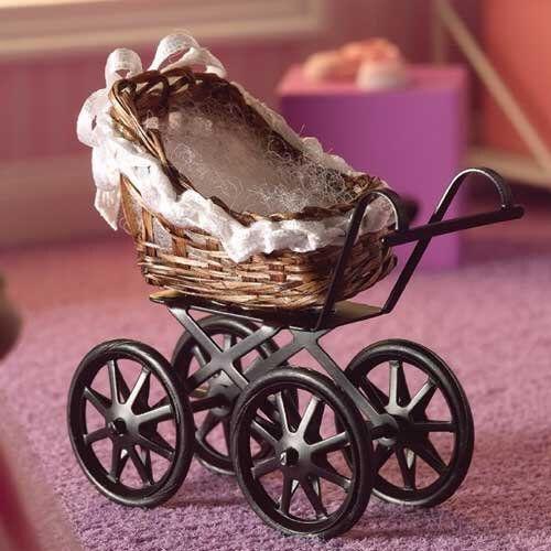 Miniatur Puppenhaus 1:12, nostalgische Accessoires, Kinderwagen geflochten, Miniatur