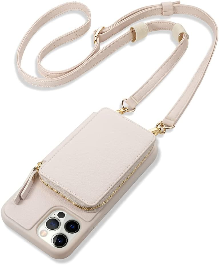 ZVE Phone 12 Pro Max Wallet Case Crossbody with Lipgloss Loops, Zipper Leather Phone Case with RFID Blocking Card Holder Wrist Strap Present Women for iPhone 12 Pro Max, 6.7 inch 5G- Beige