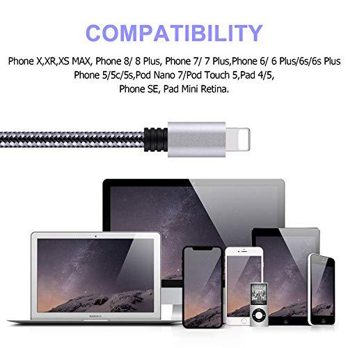 Everdigi iPhone Ladekabel [3 Pack x 3m] Zertifiziert High Speed Sync&Charge für iPhone 12/12pro/12 pro max/XS/XS Max/X/8/8 Plus/ 7/7 Plus/ 6s/ 6(Schwarzgrau)