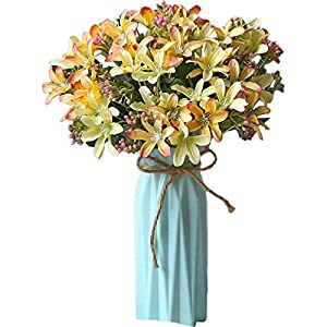 EERSEEN Artificial Flowers, Real Looking Artificial Fake Flowers, for DIY Wedding Bouquets Bridal Shower Centerpieces Party Decorations(with Vase-Yellow Daffodil