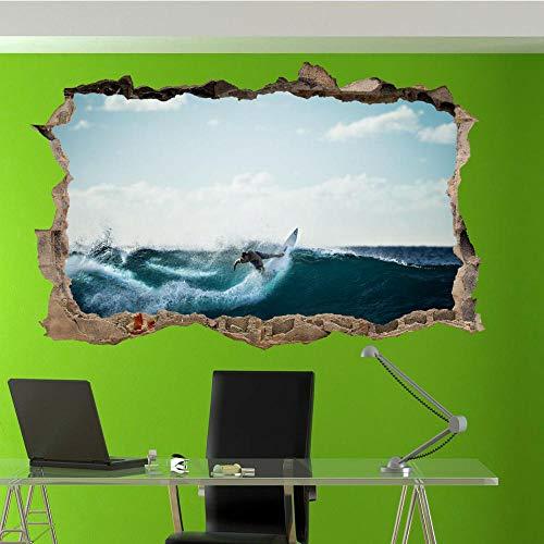 PEGATINAS DE PARED DE SURF TABLA DE SURF DE ONDAS 3D ART MURAL SALA OFICINA TIENDA DECORACIÓN 3D Poster wallpaper 60x90cm