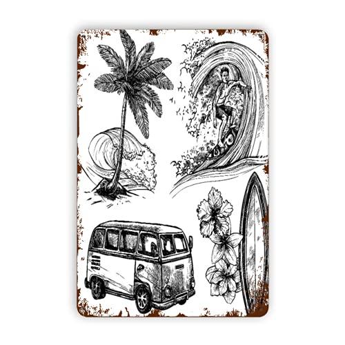 CIKYOWAY Letreros de metal Surf Deporte y estilo de vida Tabla de surf de olas Playa y Van Sketch Conjunto de iconos decorativos aislado negro, cartel de chapa, pintura de hierro para pared, decoraci