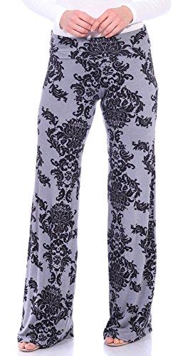 Popana Womens Casual Print Palazzo Pants Plus Size Made in USA Large Gray Damask