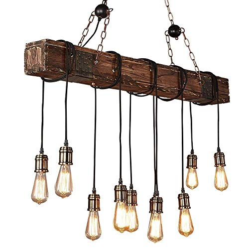 KJLARS Farmhouse Chandelier Wood Hanging Industrial Pendant...
