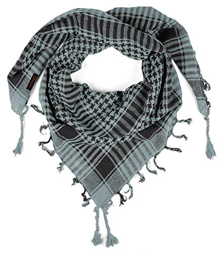 Shemagh Tactical Scarf Men Lovarzi Cotton Keffiyeh Desert Palestinian Grey army military Scarfs - Outdoor Face Wrap Hunting Climbing Hiking Scarves - Dad Gift