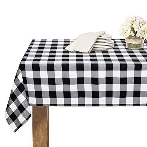 RYB HOME Christmas Tablecloth Waterproof - Wrinkle Resistant Washable Buffalo Plaid Table Cloth for Kitchen Buffet Holiday Dinner, 60 x 84 Inch, Black and White Checkered