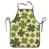 MINIOZE St Patrick's Day Clover Silhouettes Vintage Effect Apron Theme Cooking Chef Work Shop Women Men Adult Girl Kid Weavers Baking Decorations Painting BBQ Grilling Kitchen Accessories
