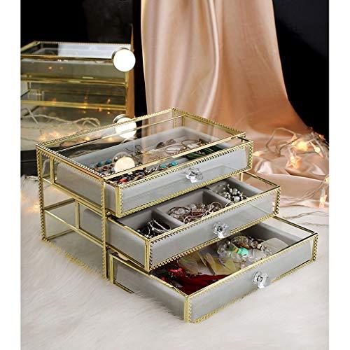 Cajas para joyas Caja de joyería de cristal transparente con 3 cajones, organizador de joyas de terciopelo, anillos de pendiente anillos collares Pulseras Accesorio Titular Organizador for vestidor de