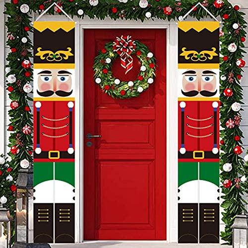 QIAMNI Schiaccianoci Decorazioni per Striscioni di Natale - Modello Soldato Schiaccianoci Decorazioni Natalizie per Natale Bandiera da Appendere per la Porta d'ingresso Giardino All'aperto al Coperto