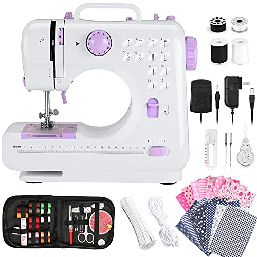 Hoxinlong Sewing Machine for Beginners, 2 Speeds Double Thread with Foot Pedal, 12 Built-in Stitches with Reverse Sewing, DIY Sewing Accessories (Light Purple) -  Hoxinlong tech