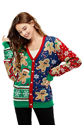 Unisex Women's Ugly Christmas Sweater Cardigan Knitted Gingerbread Rocks Funny Ugly Pullover for Men, X-Large