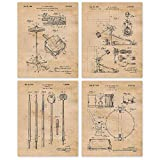 Vintage Drums Patent Poster Prints, Set of 4 (8x10) Unframed Photos, Wall Art Decor Gifts Under 20 for Home, Office, Garage, Man Cave, DJ, Musician, College Student, Teacher, Rock Band Fan