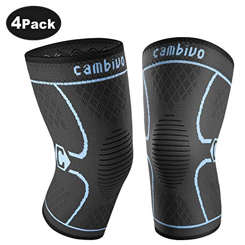 CAMBIVO 2 Pack Knee Brace, Knee Compression Sleeve Support for Running, Arthritis, Meniscus Tear, Home Gym, Sports, Joint Pain