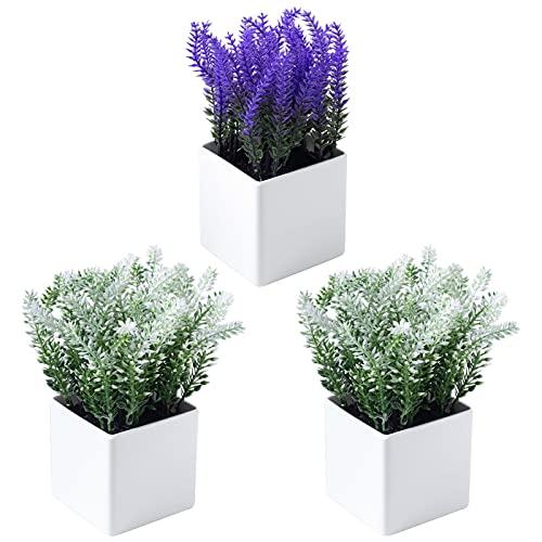 ZENMAG Mini Plantas Artificiales en Maceta, Juego de 3 Plantas de Lavanda de plástico Falsas,...