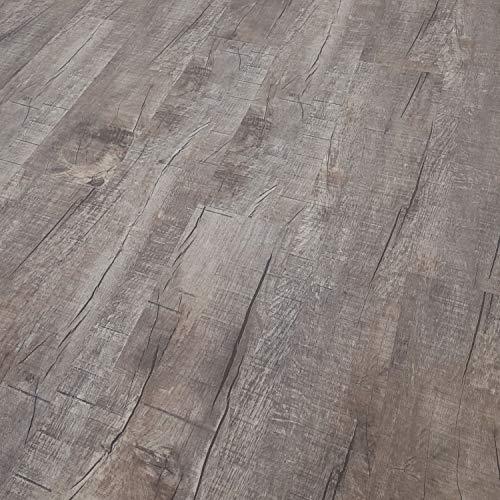 TRECOR Vinyl-/LVT Klick Vinyl-Designboden Massivdiele 6,5 mm stark mit 0,5 mm Nutzschicht inclusive Trittschall - WASSERFEST -Sie kaufen 1 m² (Vinylboden | Musterstück, Eiche Old Rustik Dark)