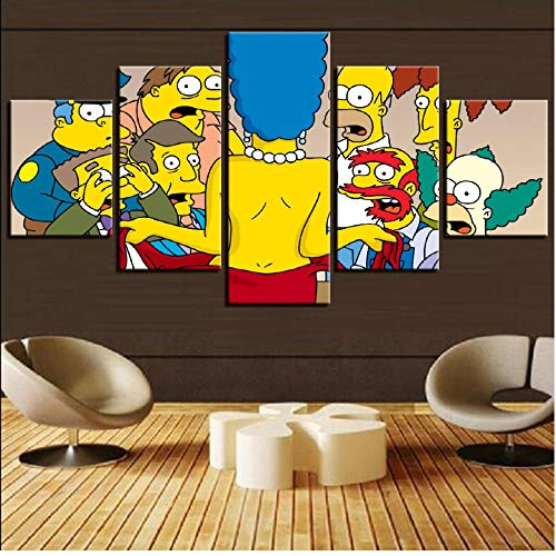 WANGXJ 5 Piece Canvas Art Pictures Frame Simpsons Anime Poster Characters Painting Decoration Home Living Room Bedroom HD Prints-wkm
