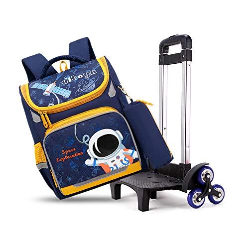 LHY EQUIPMENT Protección de la Columna Mochila Trolley para Niños,Retirable Mochila para Estudiantes con Ruedas con Seis Ruedas para Subir Escaleras Adecuado para La Escuela/Viaje,Dark Blue