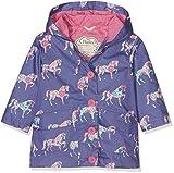 Hatley Girl's Cotton Coated Raincoat, Purple (Floral Horses), 3 Years