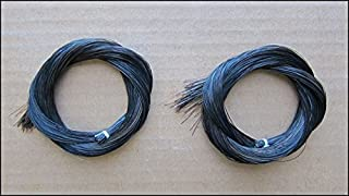 Two(2) Hanks of 31-31.5 Inch Genuine Mongolian Horse Hair for Violin, Viola, Cello, Bass Bow, Classic Black Color