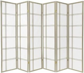 Oriental Furniture 6 ft. Tall Double Cross Shoji Screen - Special Edition - Grey - 6 Panels