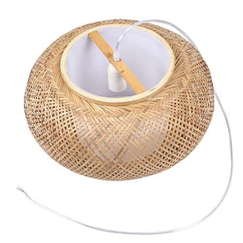 Lámpara de techo de bambú, pantalla de mimbre, lámpara colgante (no contiene bombillas)