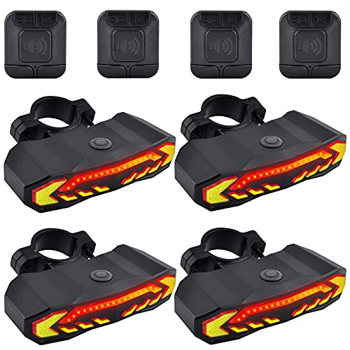 GREENCYCLE Smart Bike Tail Light, Anti-Theft Bicycle Taillight with Turn Signals and Automatic Brake Light, Bike Rear Light with Remote Control, USB Rechargeable Safety Warning Cycling Light, 4 Pack