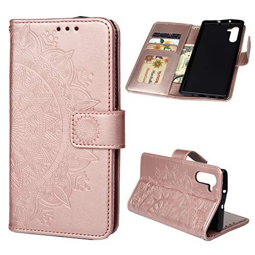 Mavis's Diary Schutzhülle für Samsung Galaxy Note 10, aus hochwertigem PU-Leder, geprägtes Totem-Blumen-Design, mit Kartenfächern, Magnetverschluss mit weicher TPU-Innenseite, Minzgrün, Rose Gold
