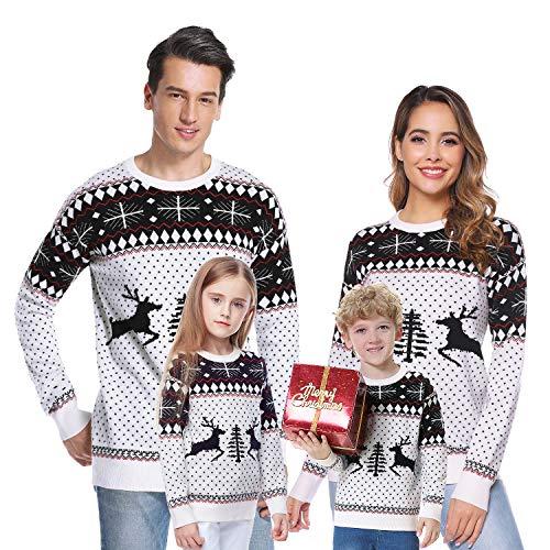Aibrou Maglione Natalizio Famiglia, Xmas Pullover in Maglieria per Uomo Donna e Bambini, Felpa Famiglia Coordinati Natale per Autunno e Inverno