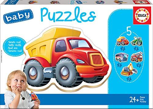 Educa - Baby Puzzles, puzzle infantil Vehículos, 5 puzzles progresivos de 2 a 5 piezas, a partir de 12 meses (14866)