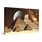Startonight Cuadro Moderno en Lienzo - Fantasía Egipcia en Las Pirámides - Pintura Abstracta para Salon Decoración Grande 80 x 120 cm