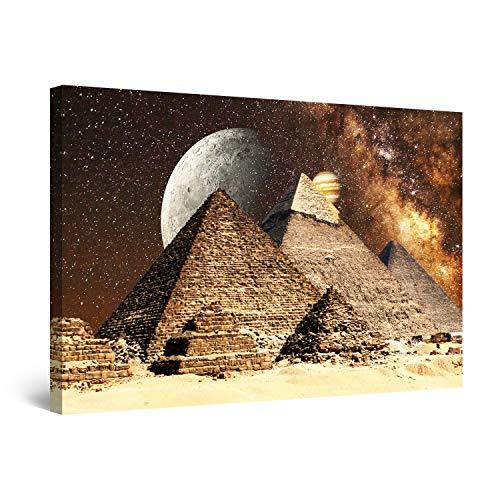 Startonight Cuadro Moderno en Lienzo - Fantasía Egipcia en Las Pirámides - Pintura Abstracta para Salon Decoración 60 x 90 cm