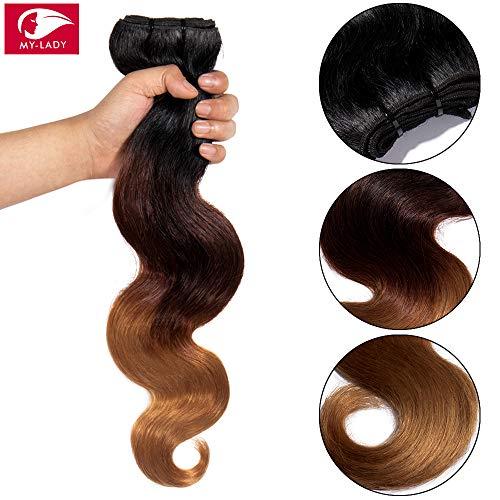 Brazilian Human Hair bundles 100% Remy Extensions Echthaar 1 Bündel Body Wave - Human Hair Weave Ombre #1B Natürliches Schwarz/#33 Dark Auburn/#27 Dunkelblond (30cm - 100g)