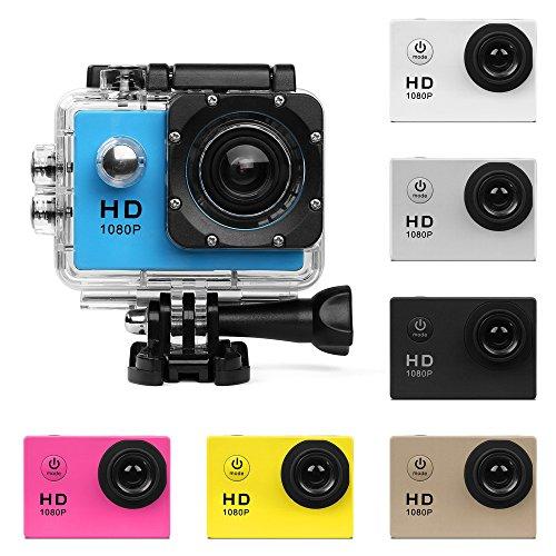 UGI Aktion Kamera HD 480P Sportkamera - HD Unterwasserkamera Tauchen wasserdichte Action Camcorder mit Zubehör für Kinder,Schnorcheln,Motorrad,Fahrrad,Helm,Auto,Ski und Wassersport