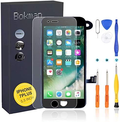 bokman Écran Tactile LCD pour iPhone 7 Plus Noir Vitre LCD Ecran Assemblé avec Capteur de Proximité, Écouteur, Caméra Frontale et Kit de Réparation