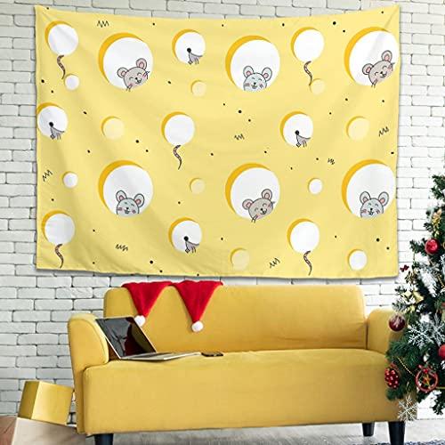 Ballbollbll Tapiz de dibujos animados lindo ratón comer queso moda colgar en la sala de estar manteles ropa de cama tapiz blanco 91 x 59 pulgadas