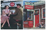 Cuadro Madera inspiración Coca-Cola. Set de 2 Unidades de 19 cm x 25 cm x 4 mm Adhesivo FÁCIL COLGADO. Adorno Decorativo Pared Ideal para Hogar/Cocina/Cafetería.