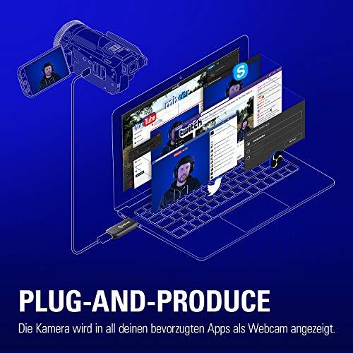 Elgato Cam Link 4K, Live-Streamen und Aufnehmen mit DSLR, Action Cam oder Camcorder in 1080p60 oder 4K bei 30 fps, HDMI Capture-Gerät, USB 3.0