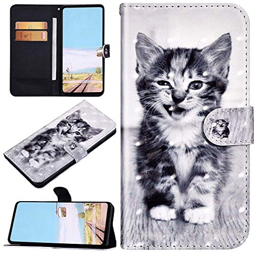 Urhause Kompatibel mit Galaxy A80/A90 Brieftasche Hülle Ledertasche Handyhülle 3D Bunt Muster Glitzer Glänzend Schutzhülle mit Kartenfach Magnetverschluss Bumper Stoßfest Flip Case Smiley Katze