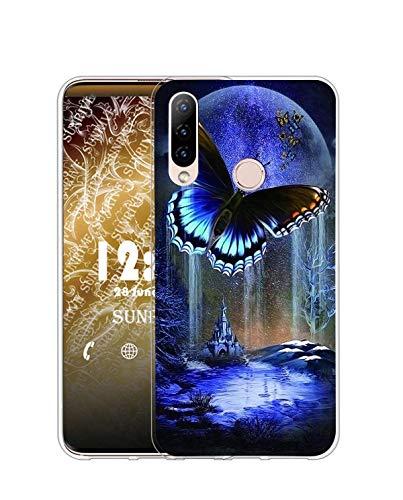 Sunrive Kompatibel mit HTC Desire 19 Plus Hülle Silikon, Transparent Handyhülle Schutzhülle Etui Hülle (Q Schmetterling 3)+Gratis Universal Eingabestift MEHRWEG