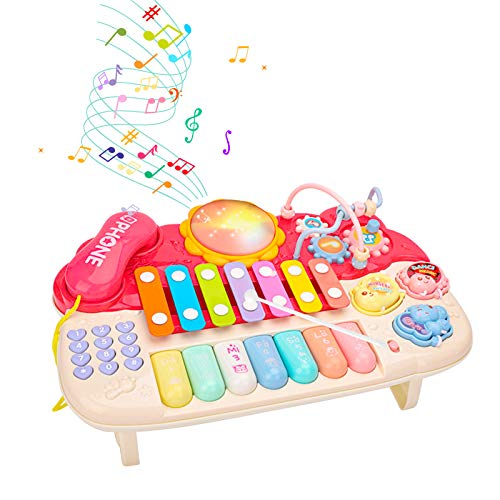 Juguete Musical para bebé-Juego con teléfono Pearl Labirinth Gear Xilófono Piano-Juguetes de Aprendizaje para Niños de 1 2 3 Años Niños Niñas Niños Pequeños Los Mejores Regalos Educativos (rosado)