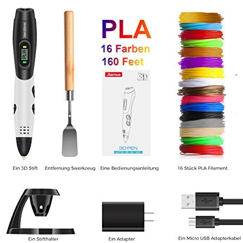 3D Stifte,Jiamus 3D Druck Stifte Set für Kinder mit LCD-Display kompatibel mit PLA ABS-Modus Optionen, Set mit 16 Farben 160 Fuß 1,75 mm Filament Minen und Erwachsene - 2