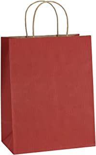 BagDream Gift Bags 8x4.25x10.5 Inches 25Pcs Paper Shopping Bags, Kraft Bags, Retail Bags, Red Stripes Paper Bags with Handles, 100% Recyclable Paper Bags